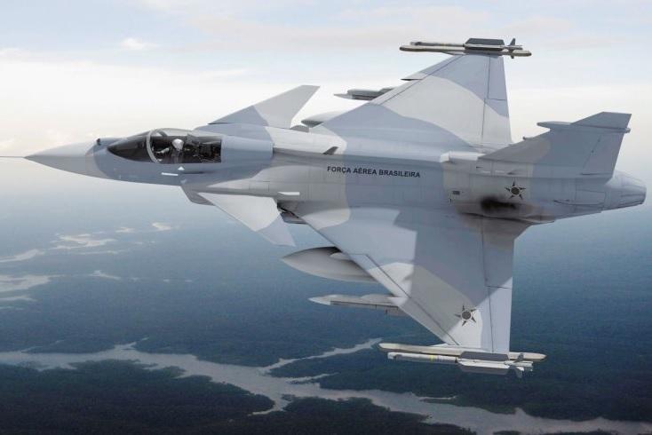 Изображение истребителя Saab JAS-39E Gripen NG в окраске ВВС Бразилии.