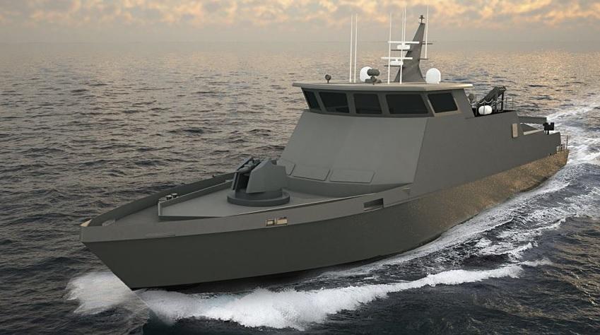 Изображение предполагаемого к постройке для ВМС Бахрейна 35-метрового сторожевого катера нового проекта американской компании Swiftships Shipbuilders.