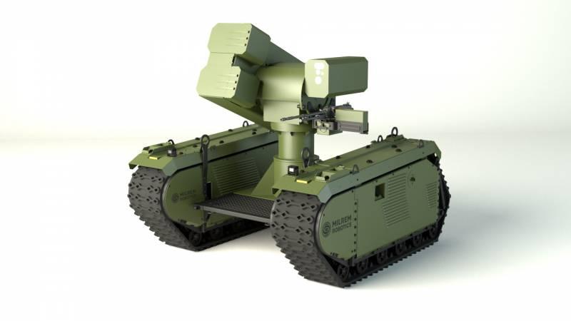 Изображение разрабатываемой европейским объединением MBDA и эстонской компанией Milrem Robotics безэкипажной роботизированной противотанковой системы.