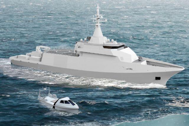 Изображение выбранного для постройки для ВМС Бельгии и Нидерландов перспективного тральщика-искателя мин разработки консорциума французского судостроительного объединения Naval Group и французской компании ЕСА Robotics