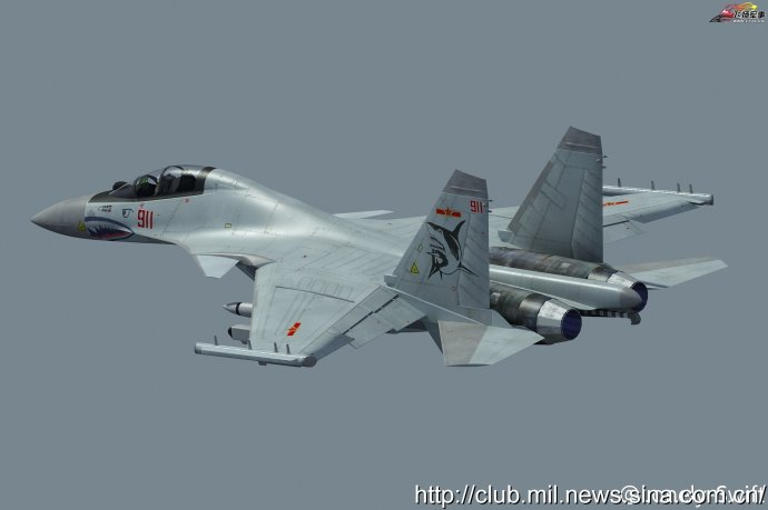 Рисунок перспективного палубного самолета РЭБ J-15SG.