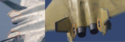 Расположение блоков дипольных отражателей на J-20.