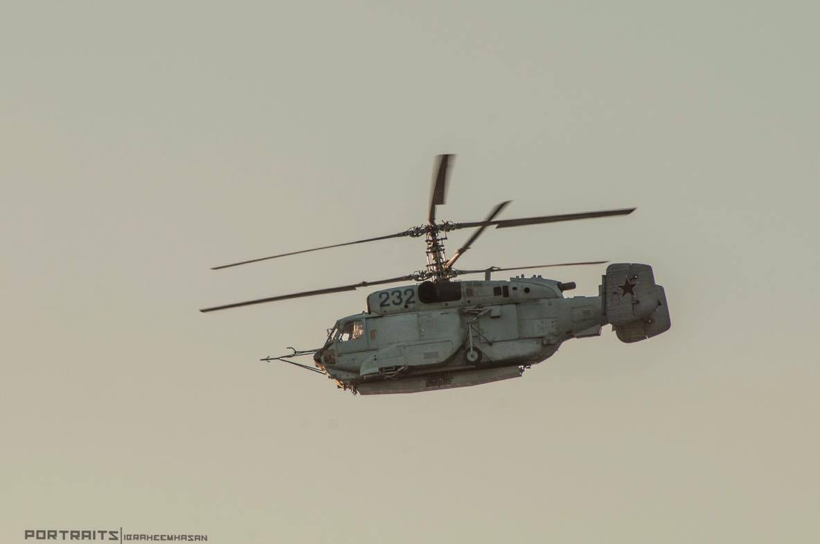 """Второй опытный образец (бортовой номер """"232"""") российского вертолета Ка-31СВ (Ка-35, изделие 23Д2, ОКР """"Горьковчанин"""") из состава вертолётного комплекса радиолокационной разведки наземных целей (ВКРРНЦ) 1К130, в Сирии (район Латакии), октябрь 2016 года."""