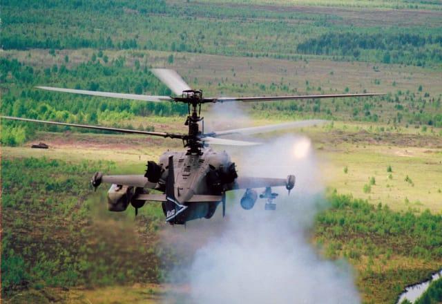Учебные стрельбы вертолета Ка-50.