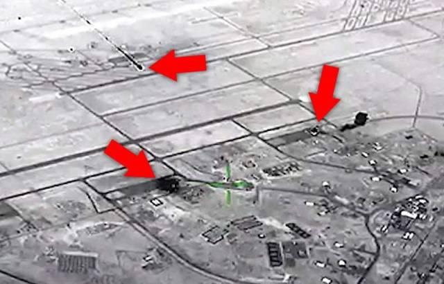 Кадр воздушного наблюдения за авиабазой Аль-Асад