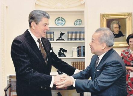 Камбоджи Сианук и Рональд Рейган