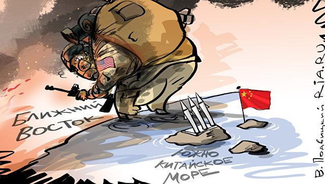 Карикатура на отношения США и Китая.