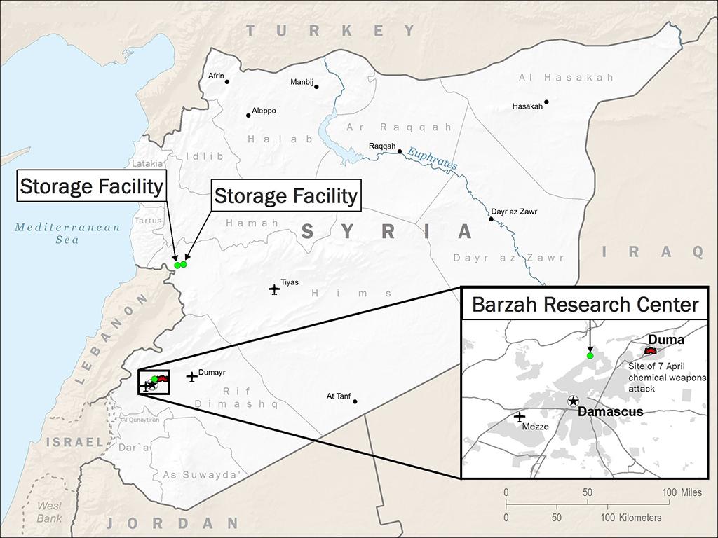 Карта с брифинга министерства обороны США с обозначением атакованных в Сирии целей 14.04.2018.