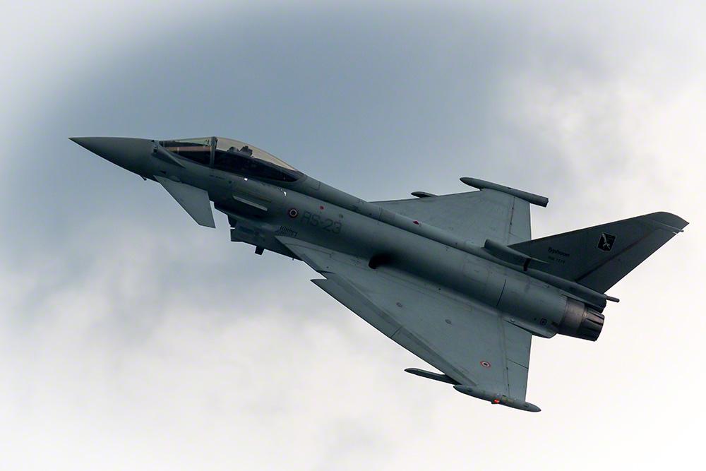 Потерпевший катастрофу 24.09.2017 истребитель Eurofighter Typhoon (итальянский военный номер MM7278, бортовой номер RS-23, серийный номер 092/IS010) из состава 311-й группы летно-испытательного центра (Reparto Sperimentale Volo) ВВС Италии.