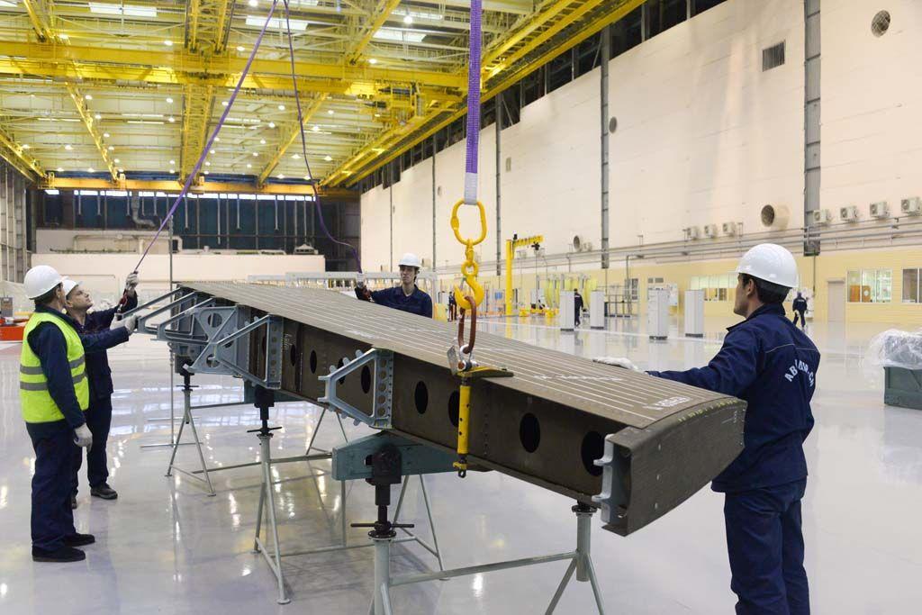 Собранный кессон для самолёта МС-21.