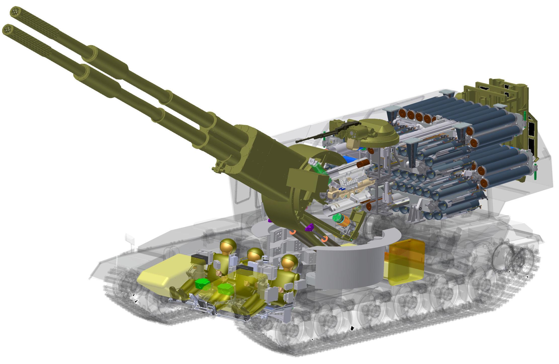 """Схема двуствольной самоходной артиллерийской установки 2С36 """"Коалиция-СВ""""."""