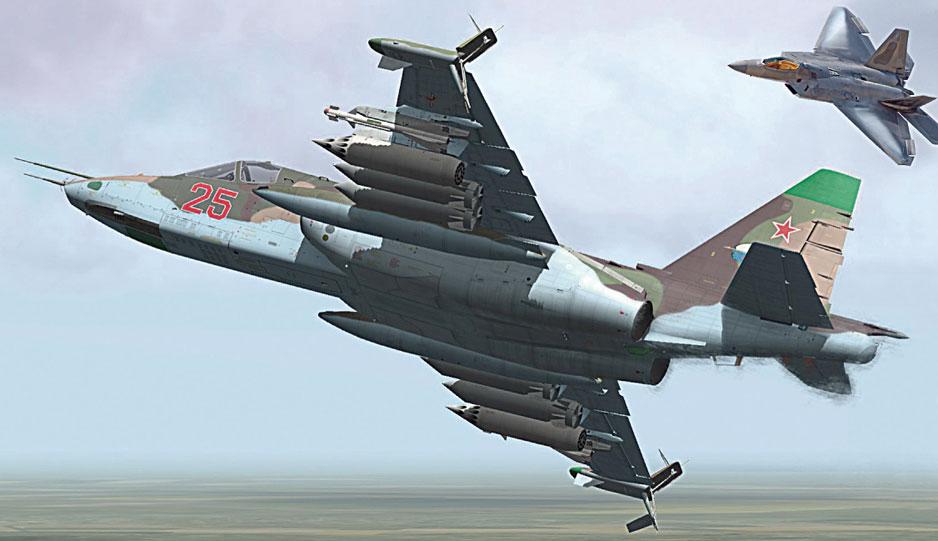 Коллаж F-22 и Су-25.