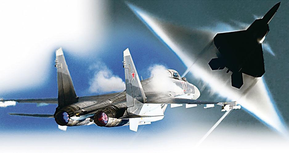 Коллаж F-22 и Су-35.