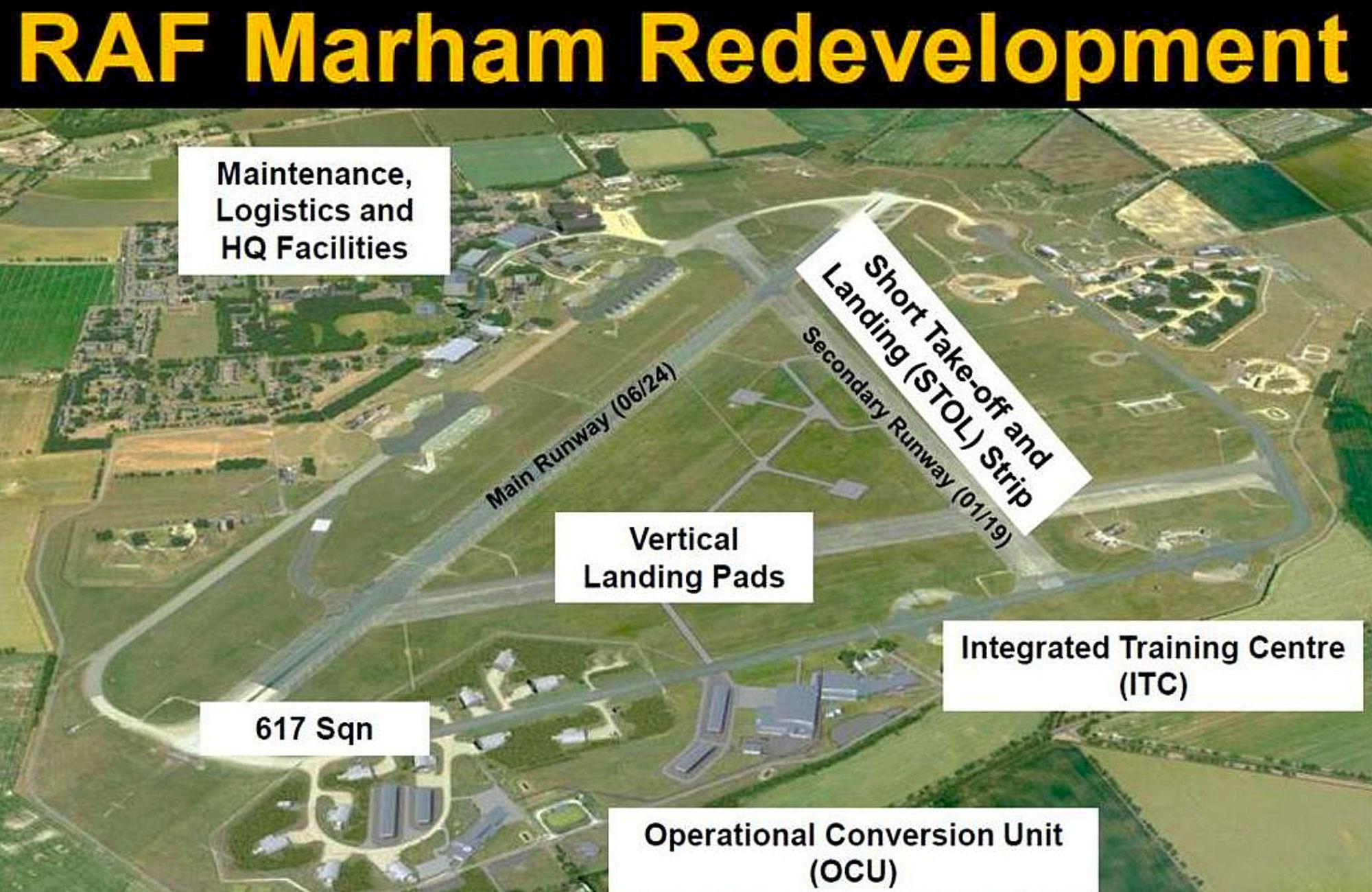 Комплексы наземной инфраструктуры для базирования истребителей Lockheed Martin F-35B Lightning II британских ВВС на британской авиабазе Мархэм.