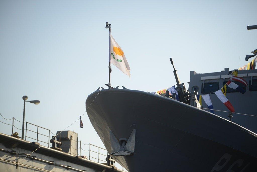 Церемония передачи Командованию ВМС Национальной гвардии Кипра и вывода в спусковой плавучий док головного малого патрульного корабля Р 61 проекта OPV 62 (Saar 62), построенного на израильском судостроительном предприятии Israel Shipyards. Хайфа, 12.09.2017.
