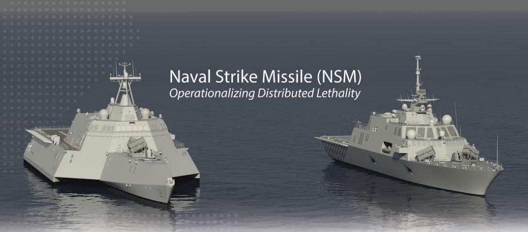 """Оснащение противокорабельными ракетами Kongsberg/Raytheon NSM обеих типов """"литторальных"""" боевых кораблей LCS ВМС США - cлева типа Independence, справа типа Freedom ."""