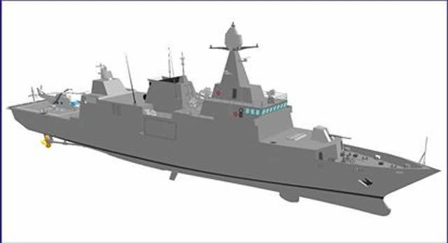 Компьютерная модель корвета для ВМС Катара.