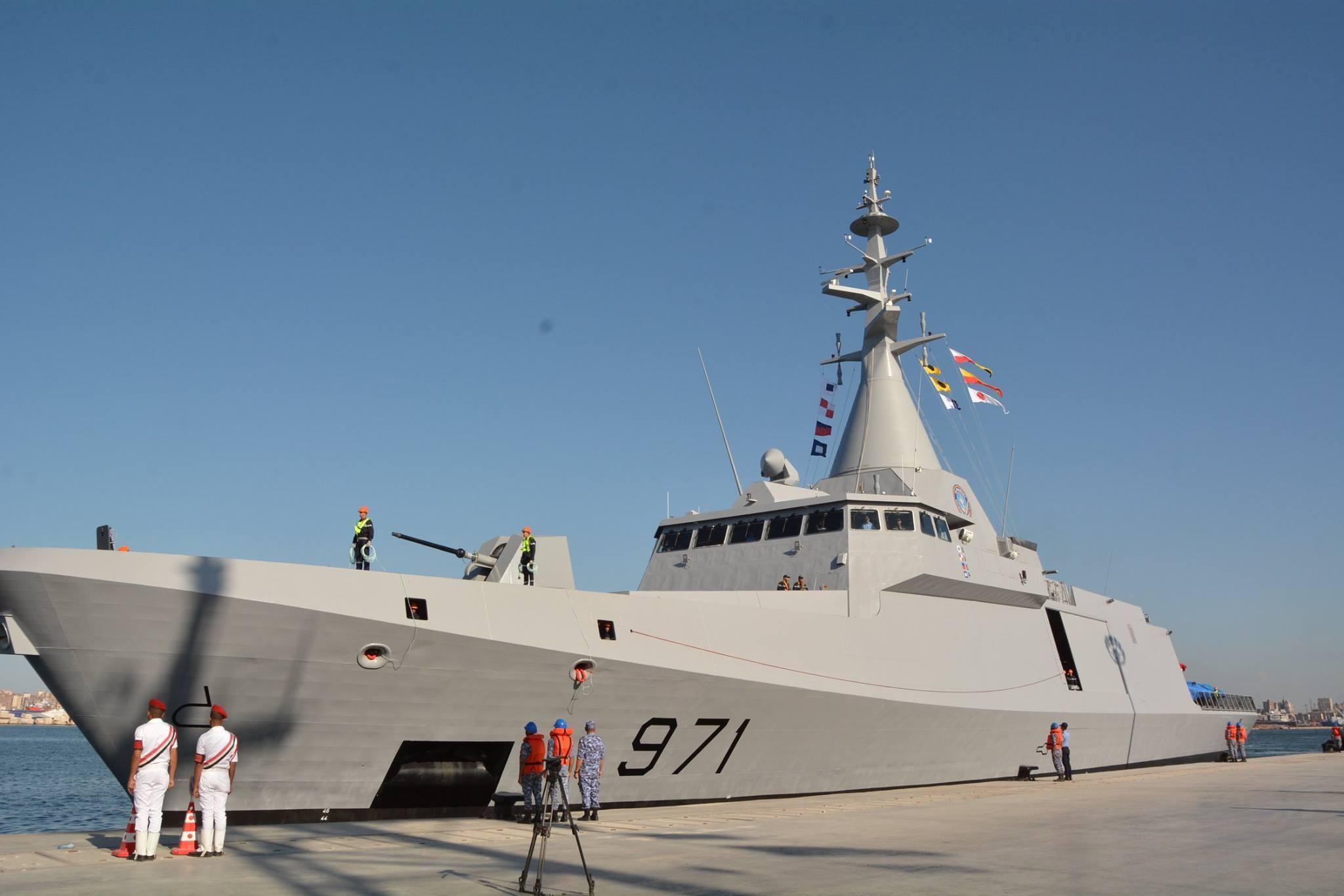 Головной построенный для ВМС Египта французским судостроительным объединением Naval Group (бывшее DCNS) корвет El Fatеh проекта Gowind 2500 после прибытия в Александрию, 18.10.2017.