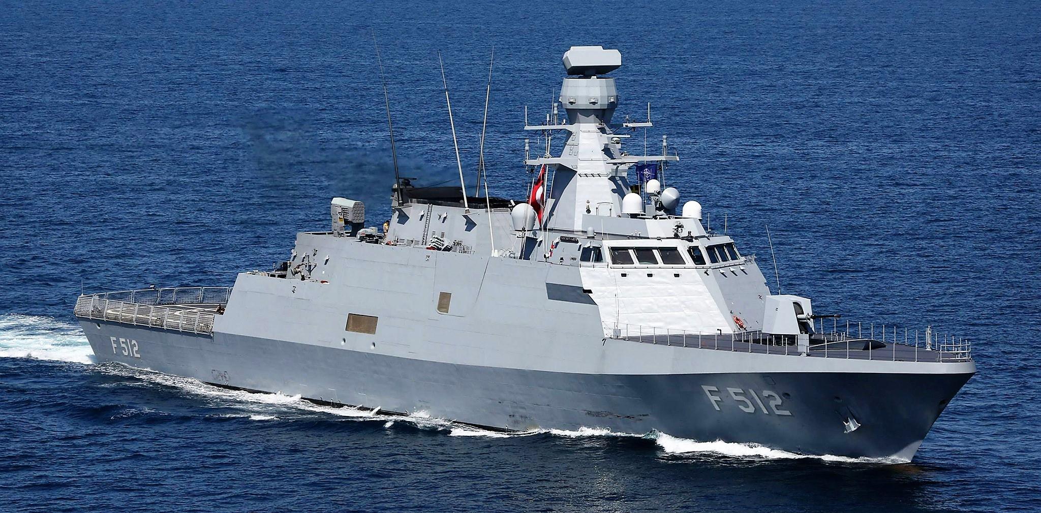Корвет F 512 Büyükada проекта MILGEM ВМС Турции.