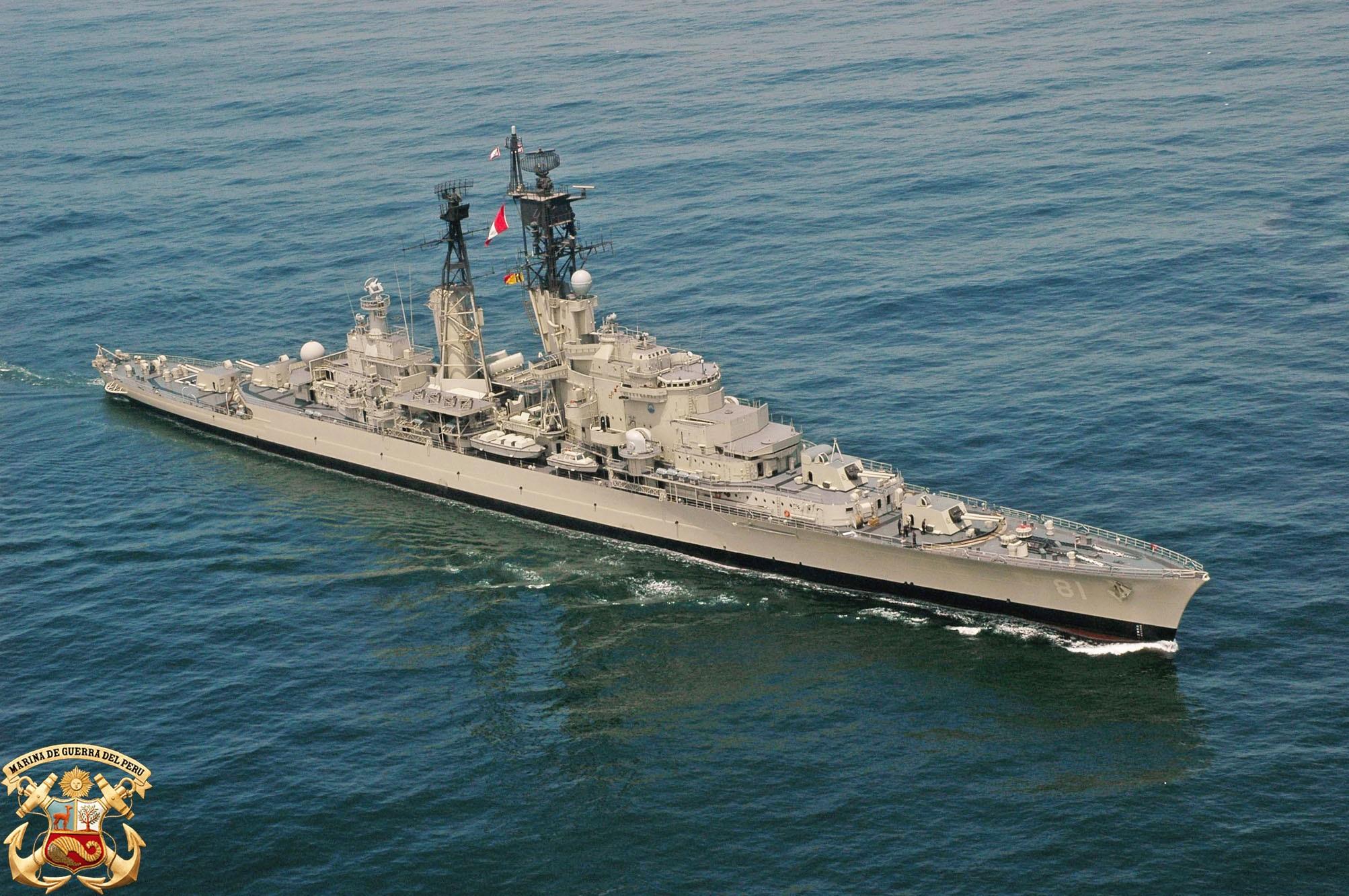 Крейсер CLM 81 Almirante Grau (бывший голландский De Ruyter) в период службы в составе ВМС Перу. Снимок 27.03.2007.
