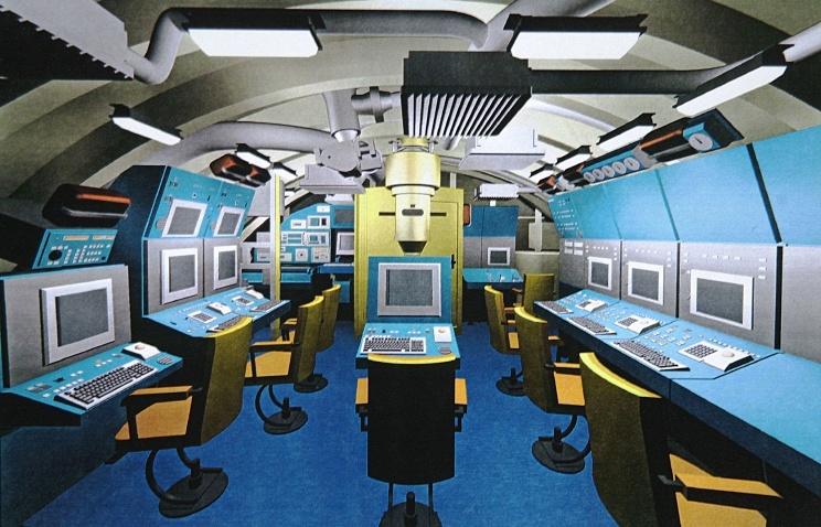 """Проектный эскиз главного командного пункта дизельной подводной лодки нового поколения проекта """"Лада""""."""
