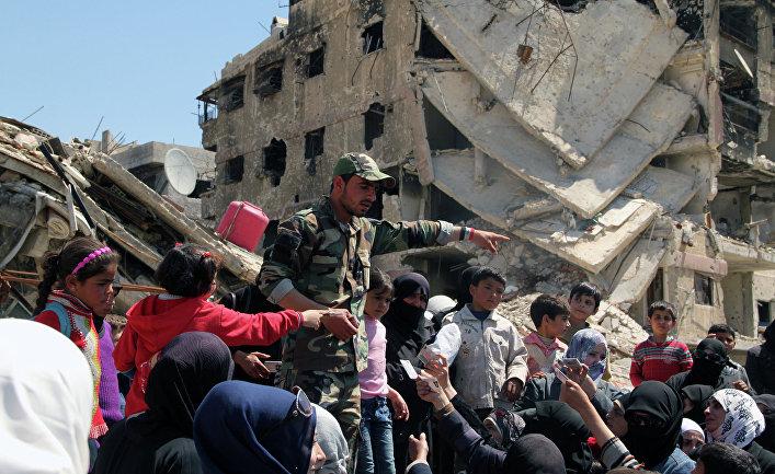 "Лагерь палестинских беженцев ""Ярмук"" на окраине Дамаска."