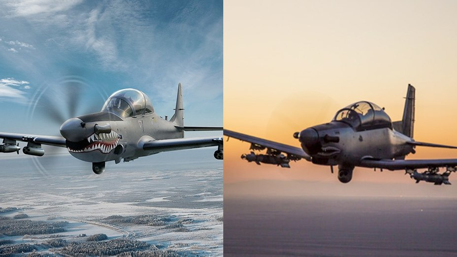 Лёгкие штурмовики Embraer A-29 Super Tucano и AT-6 Wolverine.