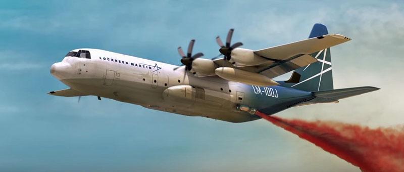 Изображение самолета Lockheed Martin LM-100J Super Hercules (Model L-382J) в качестве противопожарного с оснащением модульной противопожарной системой MAFFS (c) Lockheed Martin.