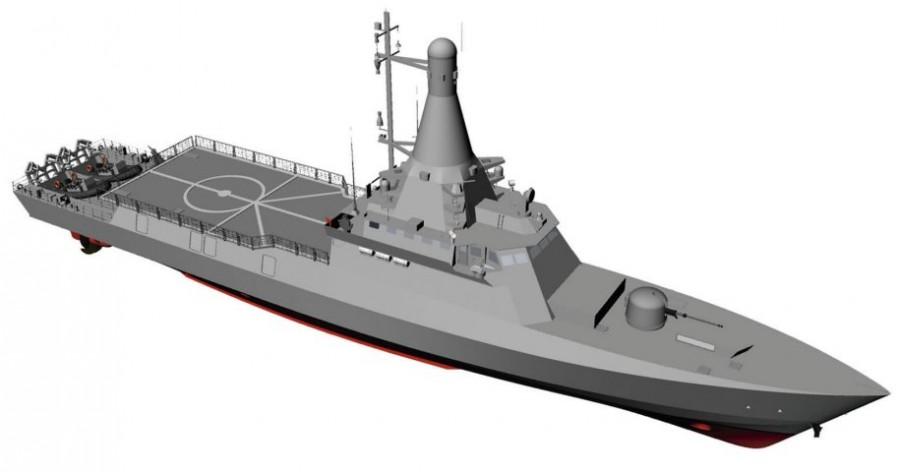 Проектное изображение перспективного многоцелевого патрульного корабля Littoral Mission Vessels (LMV) для ВМС Сингапура.