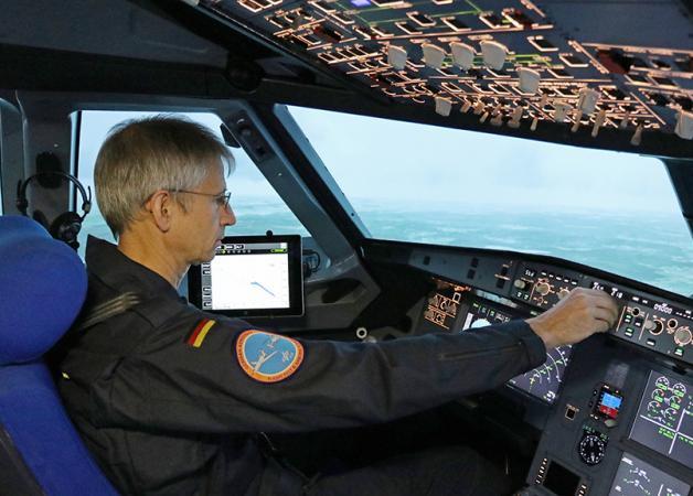 Дисплей системы LNAS в кабине пилотов A320.