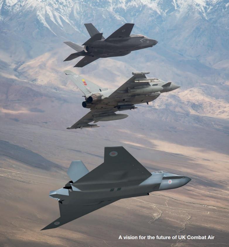 """""""Видение"""" перспективной британской воздушной мощи - сверху вниз: Lockheed Martin F-35B, Eurofighter Typhoon, Tempest (c) министерство обороны Великобритании."""