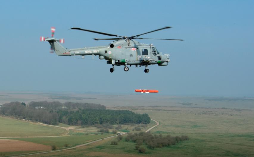 Сброс ПКР Sea Venom/ANL с борта вертолета Lynx Mk 8.