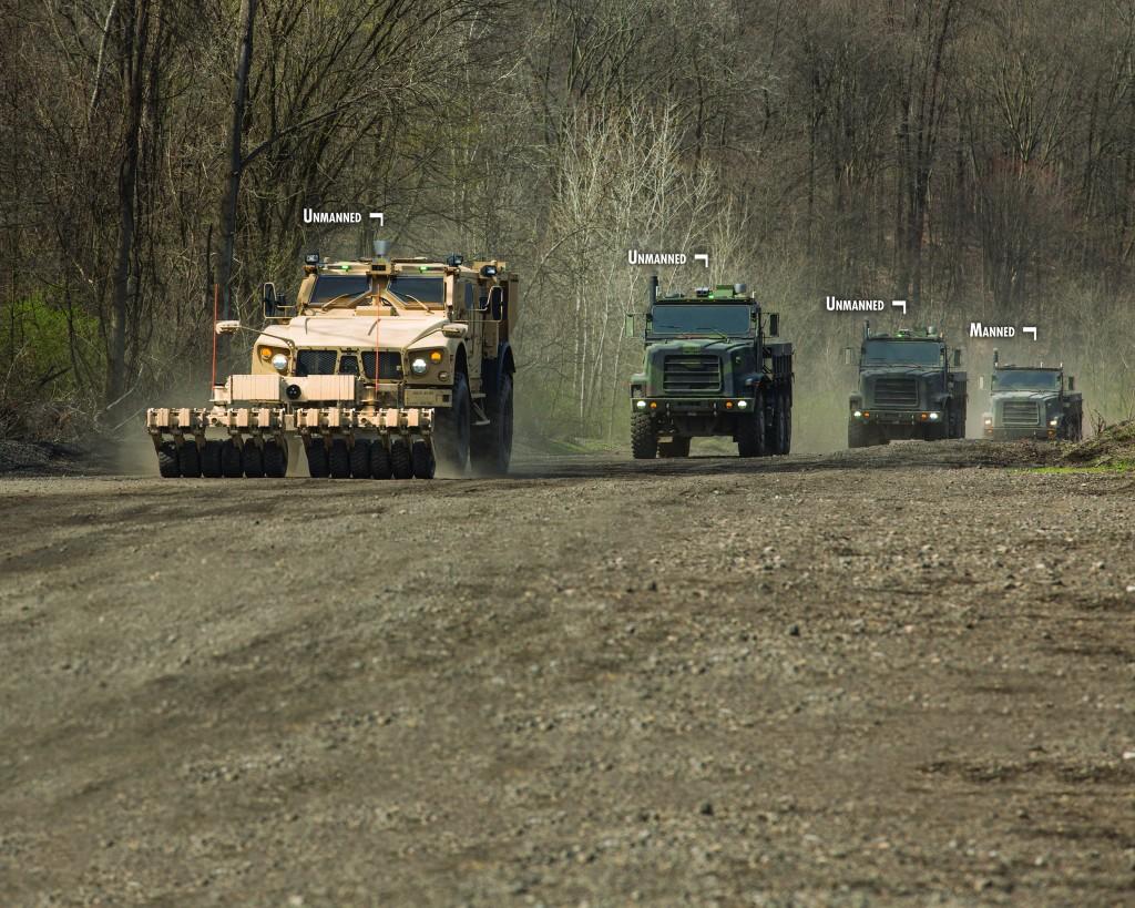 Разминирование маршрута, разведка и сопровождение конвоя с помощью технологии беспилотной наземной машины (UGV) Terramax™, установленной на машине M-ATV (MRAP повышенной проходимости).