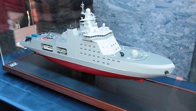 Макет патрульного корабля арктического класса проекта 23550. Архивное фото.