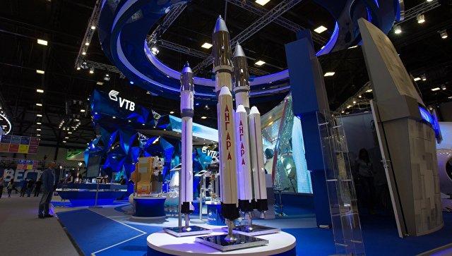 Макеты ракет Ангара на стенде государственной корпорации Роскосмос в ЭкспоФоруме. Архивное фото.
