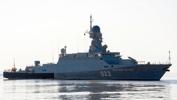 Малый ракетный корабль Великий Устюг во время учений в Каспийском море. Архивное фото
