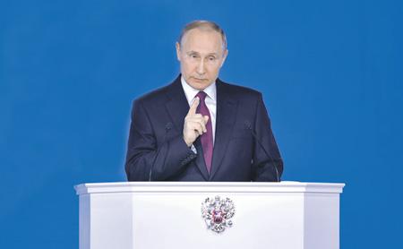 Мартовскую речь президента Владимира Путина многие на Западе восприняли не иначе как угрозу. Фото с официального сайта президента РФ