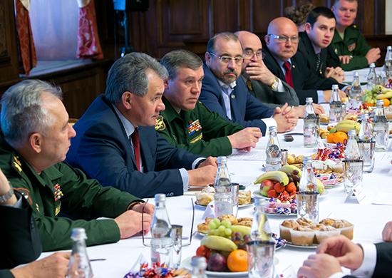 Встреча Министра обороны России генерала армии Сергея Шойгу и начальника Генерального штаба Вооруженных Сил  Валерия Герасимова с военными обозревателями и экспертами.