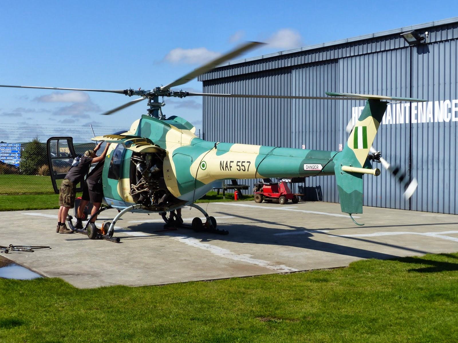 Первая наземная гонка двигателя прошедшего ремонт на новозеландском предприятии Heli Maintenance вертолета Ми-34С (бывший нигерийский номер NAF 557, заводской номер 9783034102005), ранее принадлежавшего ВВС Нигерии. Крайстерч, 19.03.2014.