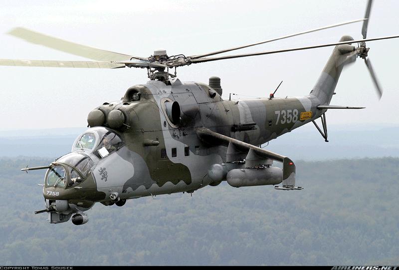 Советский транспортно-боевой вертолёт Ми-24 (Hind — «Батрак») разработки ОКБ М. Л. Миля. Фото с сайта http://military.tomsk.ru/.
