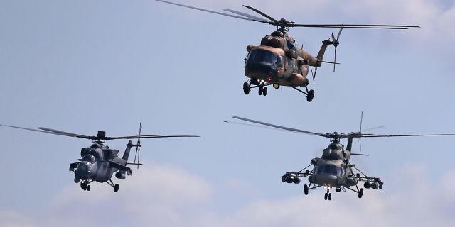 Ми-35М, Ми-8АМТШ-В и Ми-17В-5