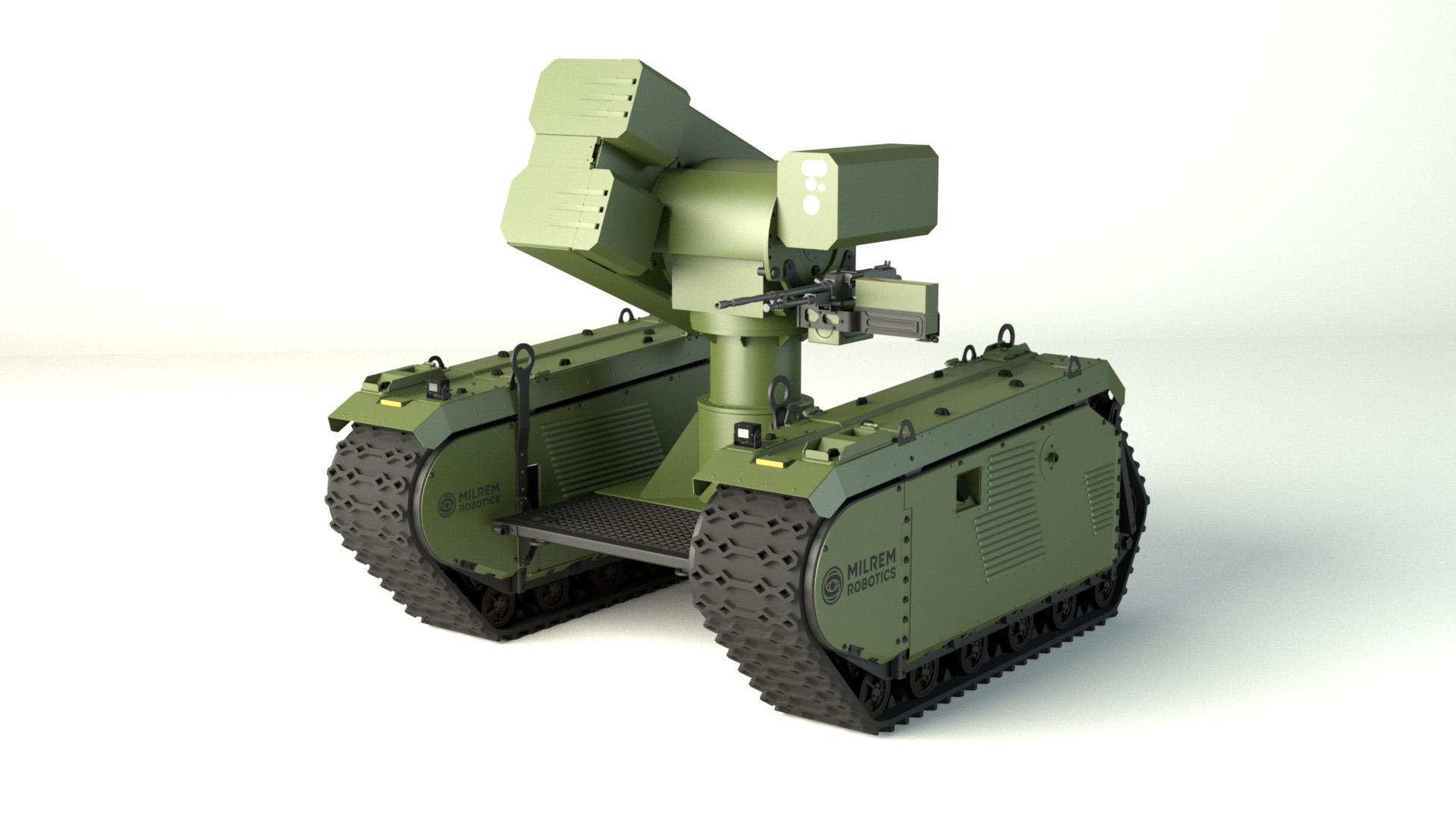 Изображение предполагаемой к разработке европейским объединением MBDA и эстонской компанией Milrem Robotics безэкипажной роботизированной противотанковой системы с установкой ракетного модуля MBDA IMPACT (Integrated MMP Precision Attack Combat Turret).