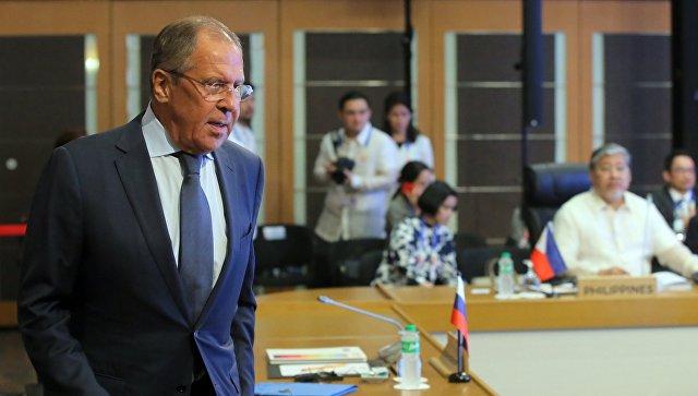 Министр иностранных дел РФ Сергей Лавров во время встречи с министрами иностранных дел стран-участниц АСЕАН. 6 августа 2017.