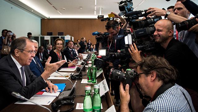 Министр иностранных дел России Сергей Лавров на министерской встрече ОБСЕ в австрийском Мауэрбахе. 11 июля 2017.