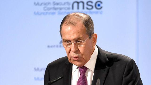 Министр иностранных дел России Сергей Лавров выступает на 55-й Мюнхенской конференции по безопасности