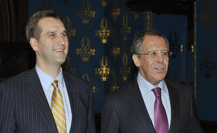 Министры иностранных дел России и Латвии Сергей Лавров и Марис Риекстиньш.