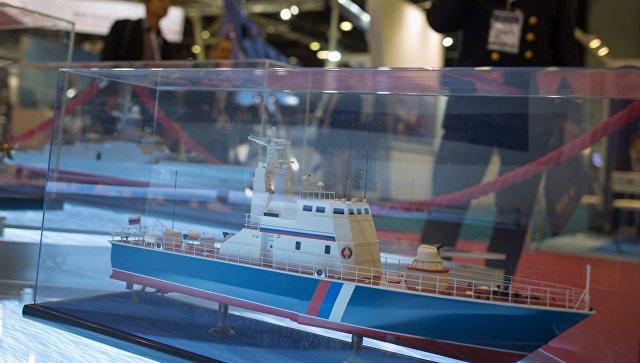 Макет патрульной лодки Мираж 1439 на стенде АО Рособоронэкспорт.