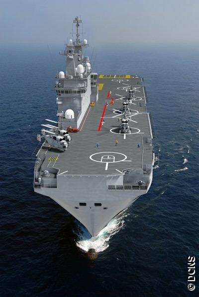"""Проектное изображение варианта проекта BPC Russe. В носовой части корабля видно установки АК-630 и 3М47 """"Гибка"""" (DCNS)."""