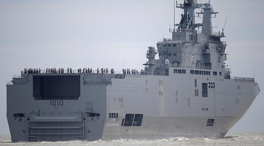 Головной из двух приобретенных Египтом универсальных десантных кораблей (УДК) типа Mistral, изначально построенных во Франции для России - L 1010 Gamal Abdel Nasser (в постройке - российский «Владивосток»)