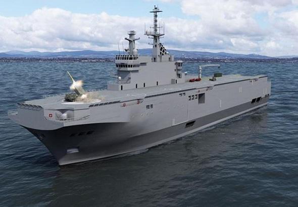 Предполагаемое боевое применение РСЗО LRU с полетной палубы французского универсального десантного корабля типа Mistral.